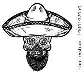 mexican sugar skull in sombrero.... | Shutterstock .eps vector #1404142454