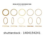 Gold geometric shapes. Golden decorative design elements isolated on white background. bronze metallic silhouettes. 3d objects shaped yellow round rings of different thickness. vector illustration. - stock vector