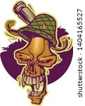 skull with teeth in a military... | Shutterstock .eps vector #1404165527