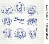 hand drawn dogs set   Shutterstock .eps vector #140417995