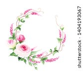 wreath with tender pink roses ...   Shutterstock .eps vector #1404193067