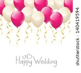 wedding balloons with golden... | Shutterstock .eps vector #140419594