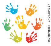 hand rainbow print isolated on... | Shutterstock .eps vector #1404204317