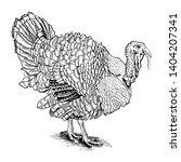 turkey vector hand drawn for... | Shutterstock .eps vector #1404207341