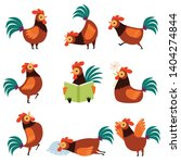 Collection Of Roosters With...