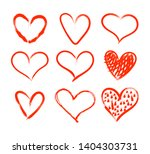 vector hand drawn red hearts...   Shutterstock .eps vector #1404303731