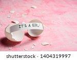 baby shower concept. girl  pink....   Shutterstock . vector #1404319997