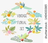 vector set with vintage flowers | Shutterstock .eps vector #140433385