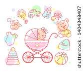 baby in carriage. baby stroller ... | Shutterstock .eps vector #1404348407