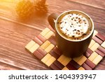coffee cappuccino black cup on ... | Shutterstock . vector #1404393947