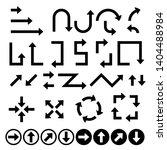 black flat arrows set. bold... | Shutterstock . vector #1404488984