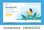 woman doing exercises in the... | Shutterstock .eps vector #1404522521