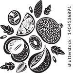 vector black cartoon fruit... | Shutterstock .eps vector #1404536891