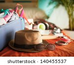woman's bedroom full of things... | Shutterstock . vector #140455537