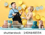 funny young blonde woman with... | Shutterstock . vector #1404648554