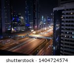 Small photo of long pose high instantaneous city view traffic night skyscraper