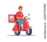 pizza delivery flat vector... | Shutterstock .eps vector #1404755981