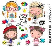 four cute cartoon girls on a... | Shutterstock .eps vector #1404780797