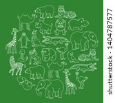 cartoon animals creatures set... | Shutterstock .eps vector #1404787577