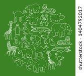 cartoon animals creatures set... | Shutterstock . vector #1404792017