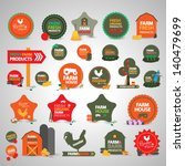 Farm Labels And Icons Set  ...