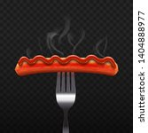 sausage on fork with ketchup.... | Shutterstock .eps vector #1404888977