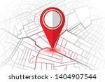 red pin showing location on gps ... | Shutterstock .eps vector #1404907544