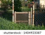 classic backyard fence in the farm village style stock photo