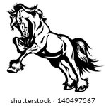 Draft Horse In Motion Black An...