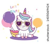 Stock vector cute unicorn vector party collection balloon cartoon baby animal kawaii character pony cartoon 1405069424
