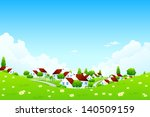 landscape with village. the... | Shutterstock . vector #140509159
