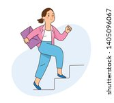 business woman climbs the... | Shutterstock .eps vector #1405096067