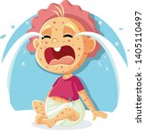 sick crying baby with measles...   Shutterstock .eps vector #1405110497