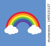 Rainbow With Clouds Vector...