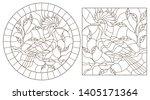 set of contour illustration of... | Shutterstock .eps vector #1405171364