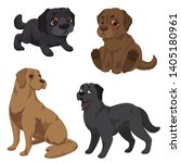 Labrador icons set. Cartoon set of labrador vector icons for web design