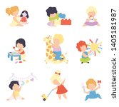 cute little kids playing with... | Shutterstock .eps vector #1405181987
