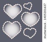 set of heart shaped pearl... | Shutterstock .eps vector #1405201637