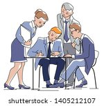 businessman sign a contract... | Shutterstock .eps vector #1405212107