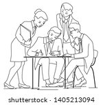businessman sign a contract... | Shutterstock .eps vector #1405213094