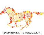 magical floral circle animals... | Shutterstock .eps vector #1405228274