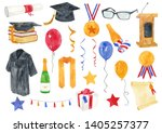 watercolor graduation elements...   Shutterstock . vector #1405257377