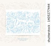 hand drawn floral frame with... | Shutterstock .eps vector #1405277444