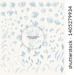 hand drawn floral set with... | Shutterstock .eps vector #1405279934