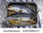 Stock photo salted herring in brine in container on a concrete background 1405288127