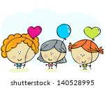 hand drawn happy kids with... | Shutterstock .eps vector #140528995