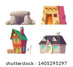 human homes from prehistoric to ... | Shutterstock .eps vector #1405295297