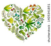 hand vector drawn floral ... | Shutterstock .eps vector #1405341851