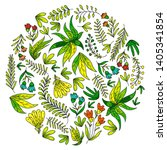 hand vector drawn floral ... | Shutterstock .eps vector #1405341854