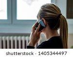 Sad Woman Alone Talks On Phone...